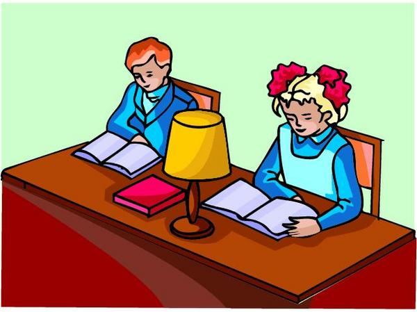cartoon of two students studying at a table
