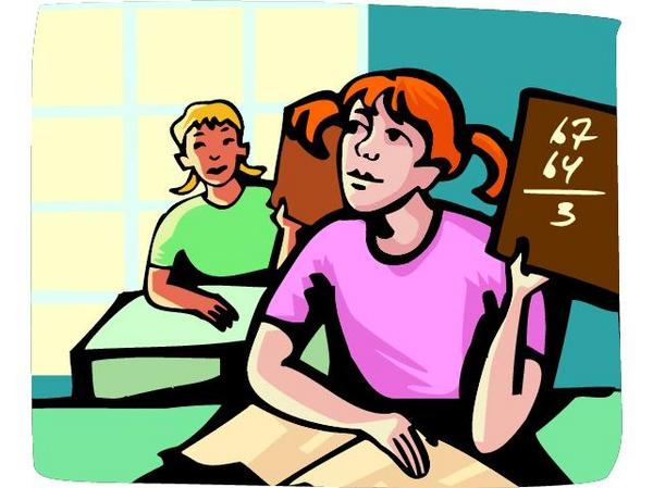 cartoon of two students in a classroom