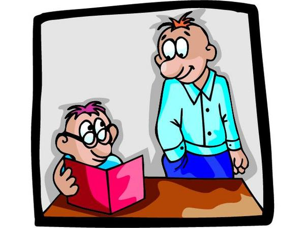 cartoon of two people with a book