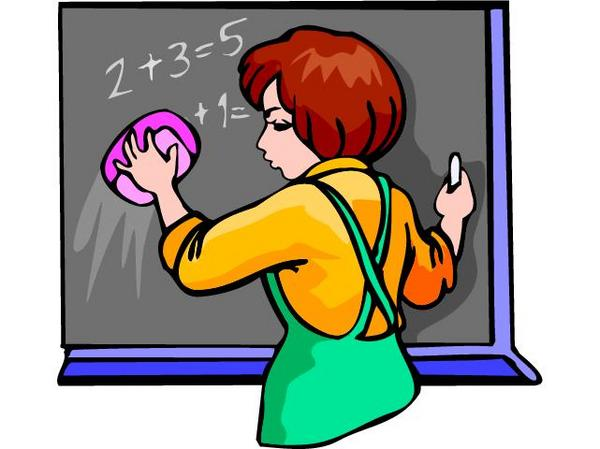 cartoon of a teacher at a blackboard