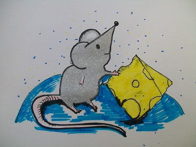 drawing of mouse with cheese